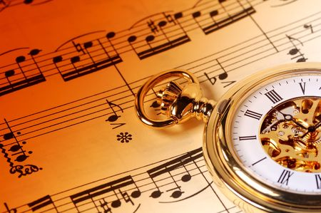 sheetmusic: Sheet Music and  a Pocket Watch Stock Photo