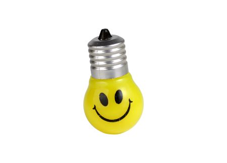 Lightbulb WIth a Smiley Face Stockfoto