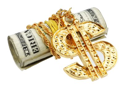 Money and Gold Dollar Sign Stockfoto