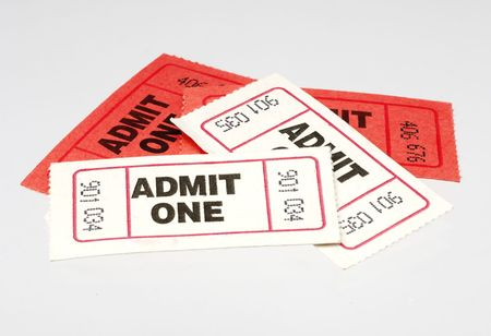 Red and White Admit One Tickets