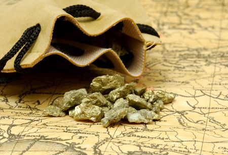 Antique Map with Sack and Gold Nuggets Stockfoto