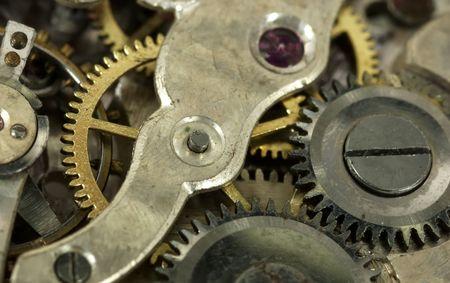 時計のムーブメントのマクロ写真ギア