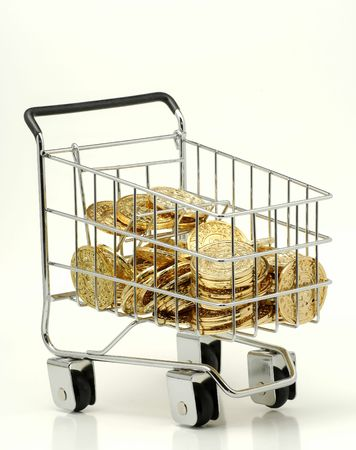 Shopping Cart Filled With Gold Coins Stock Photo - 337956