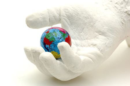 Plaster Hand Holding a Globe