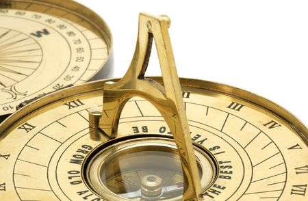 Brass Sundial and Compass Imagens