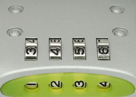 combination: Macro Photo of Numbers on a Combination Lock Stock Photo