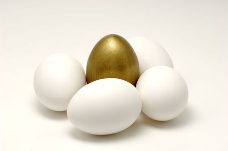 Photo of Several Eggs and a Gold Egg