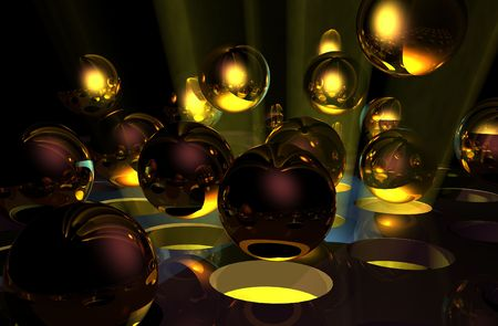 pinball: Abstract 3D Rendering of Spheroids Stock Photo