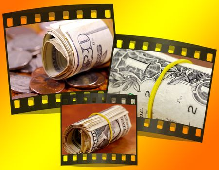Photo of Money Rolls With Filmstrip Border