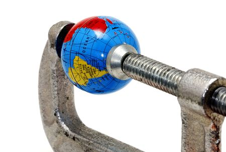 Globe in a Clamp Imagens