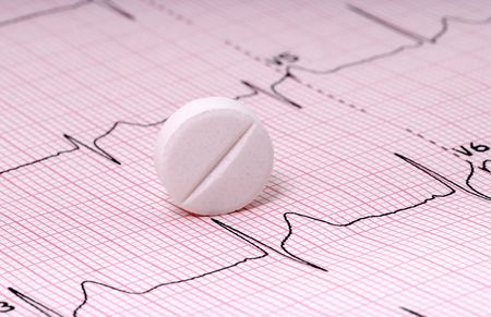 Photo of a Pill on a EKG Reklamní fotografie - 386922