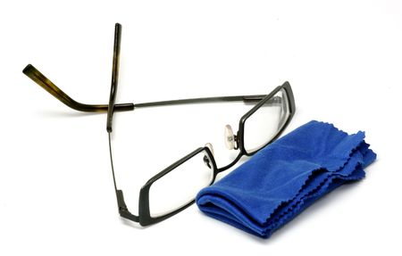 Eyeglasses and a Cleaning Cloth Banco de Imagens