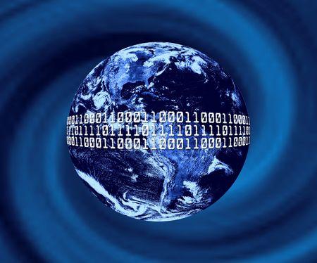 Planet Earth With Binary Code Stockfoto