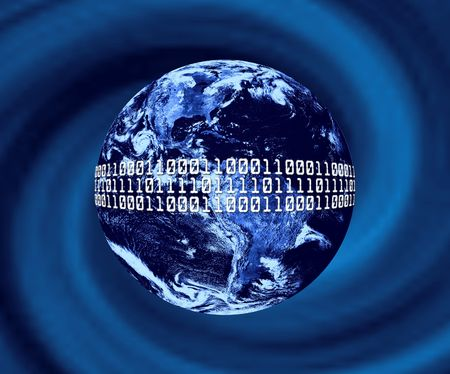 Planet Earth With Binary Code Stock Photo