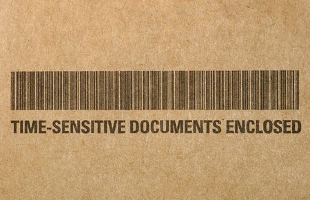 time sensitive: Barcode on Brown Paper