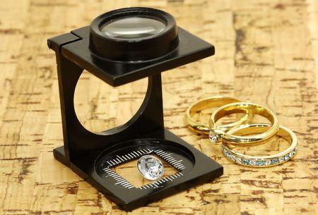 ルーペとダイヤモンド 写真素材