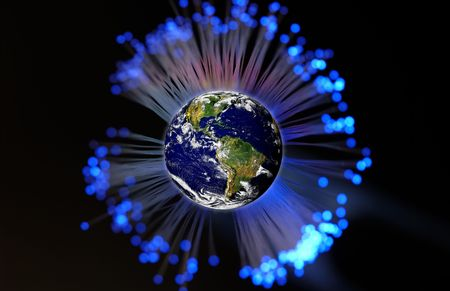 Planet Earth Surrounded By Fiber Optics