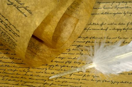Parchment Paper and a Feather Stockfoto