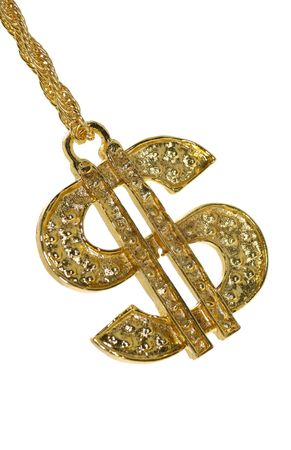 gold chain: Gold Dollar Sign Necklace