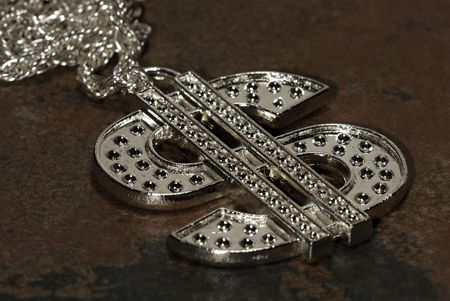 Silver Dollar SIgn Necklace photo