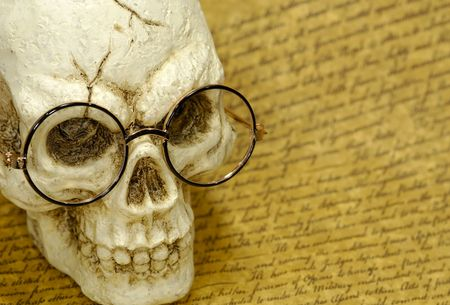 jawbone: Photo of a Skull on a Parchment