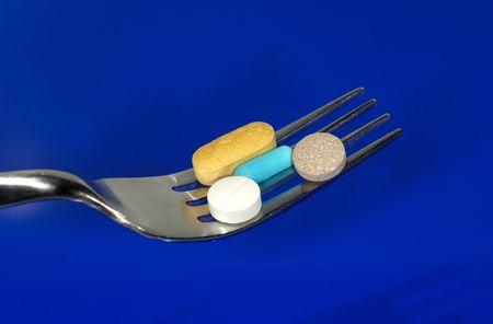 Fork with Pills - Diet Pills Concept