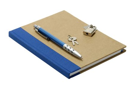Isolated Journal With a Lock and Key photo