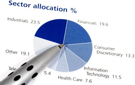allocation: Photo of a Pen on a Pie Chart - Asset Allocation Stock Photo