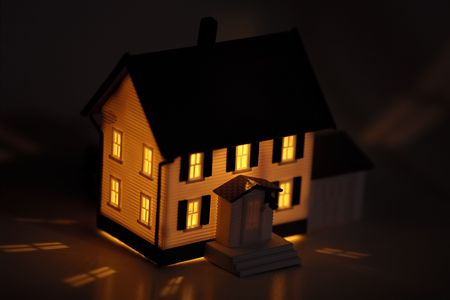Photo of a Miniature House With Interior Lighting Stock Photo - 531868
