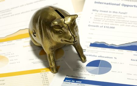 Piggy Bank on Top of Financial Statements and Investment Reports
