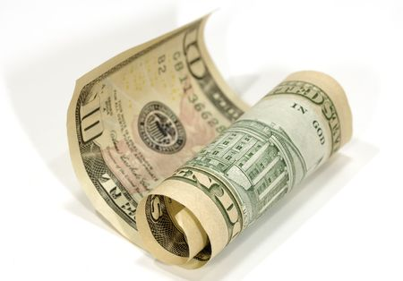 Photo of a Curled Ten Dollar Bill