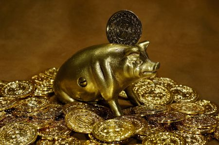 Photo of Gold Coins and a Brass Piggy Bank