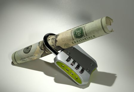 Photo of a Lock and Money - Financial Security Concept photo