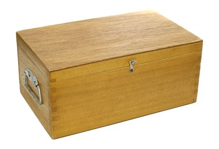 storage box: Photo of an Isolated Wooden Storage Box