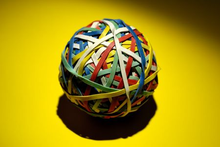 Photo of a Rubberband Ball With Creative Lighting photo
