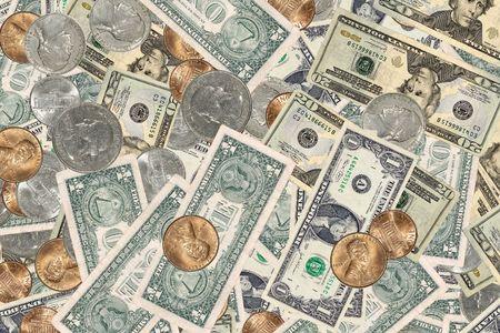 Foto de diversos tipo de moneda de los EE.UU. - el dinero de antecedentes  Foto de archivo - 564647
