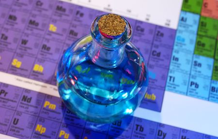 Photo of Flask on a Periodic Chart - Potion  Science Stock Photo