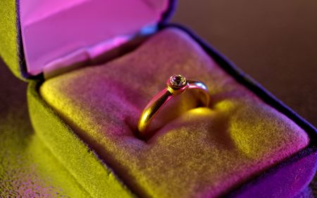 Photo of a Diamond Ring With Gel Lighting Stock Photo - 564632