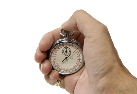 Photo of a Hand with a Stopwatch Stockfoto