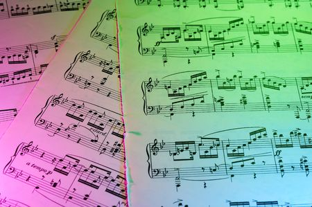 sheetmusic: Photo of Sheetmusic with Color Gel Lighting Stock Photo