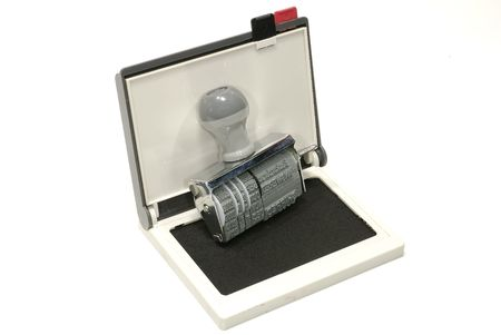 inkpad: Photo of a Inkpad and Rubber Stamp Stock Photo