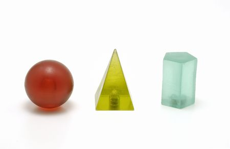 Photo of Several 3D Shapes - Red, Green and Blue