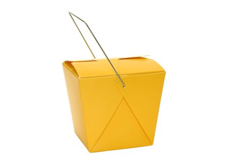 Isolated Orange Chinese Food Carton - Cardboard Storage Carton
