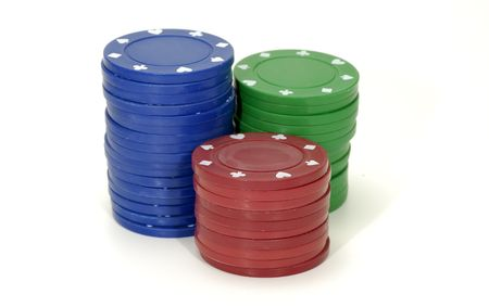 Photo of Red, Green and Blue Poker Chips