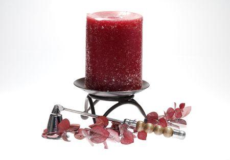 Photo of a Red Candle - Home Decor Concept Banco de Imagens