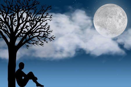 Silueta de una persona sentada por un �rbol Mirando a la Luna - escena nocturna  Foto de archivo - 628192