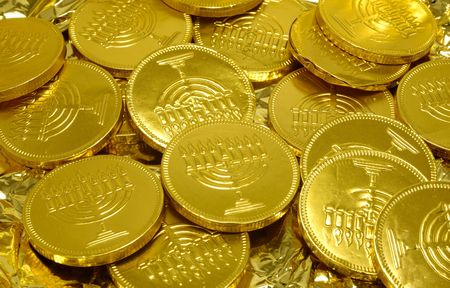 chanukah: Photo of Chanukah Gelt (Candy Coins) - Chanukah Related Items