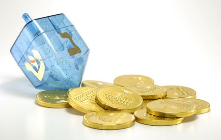 gelt: Photo of a Dreidel and Gelt (Candy Coins) - Chanukah Related Objects