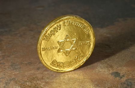 gelt: Photo of a Chocolate Chanukah Coin (Gelt) - Chanukah Related