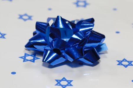 Photo of a Blue Bow on Chanukah Gift Wrapping - Holiday Related